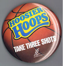 """Hoosier Hoops  Indiana Lottery 3.5"""" Advertising Pinback Button Basketball 1980s"""