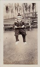 Vintage Antique Photograph Little Girl in Cool Outfit Sitting in Swing At Park