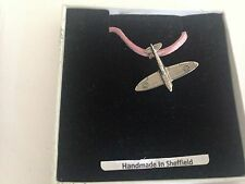 Spitfire Plane SPITPPIN Pewter Emblem ON A PINK CORD Necklace Handmade