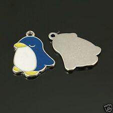 5 x bleu pingouin plaqué argent émail charms pendants