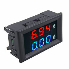 DIGITAL VOLT METER DC 100V + 10A Current AMMETER  Dual LED RED BLUE Gauge PANEL