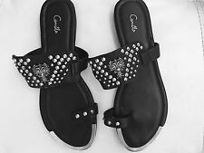 new CAMILLA FRANKS ALL LEATHER STUDDED THONGS SHOES FLATS SANDALS S 40