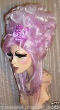 Drag Queen Wig Lavender White Tips Updo French Twist Curls Long Bangs