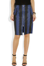 AUTH $1,150 NWT NEW Acne Voila Stripe textured-leather pencil skirt FR36/US2