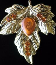 BEST GOLD BROWN FALL AUTUMN THANKSGIVING LEAF LEAVES PIN BROOCH PENDANT JEWELRY