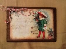 5 WOODEN Vintage Postcard Christmas Ornaments/Winter HangTags/Gift Tags SET4P