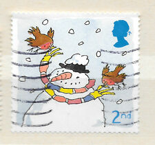 snowman with carrot nose GB stamp - see scan