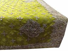 VINTAGE SARI INDIAN PURE GEORGETTE GREEN  HAND BEADED SAREE FABRIC A9960
