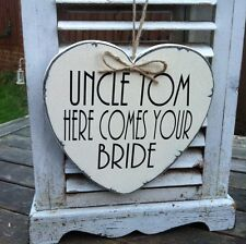Personalised heart 'Uncle ...Here Comes Your Bride' wedding sign Art Deco