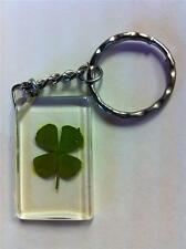 Real 4 Four Leaf Clover Keyring