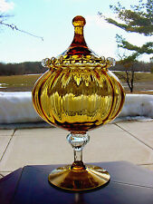 ViNTaGe Amber RiB OpTiC ArT GLaSs Apothecary~Candy~Show Globe Jar w/Rigaree Lid