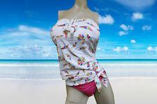 NWT 2pc ANNE COLE multi-color umbrella TANKINI bandeau BATHING SUIT swimsuit - L