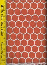 QUILT FABRIC: 100% COTTON, BURNT ORANGE HONEYCOMB, By The Yard