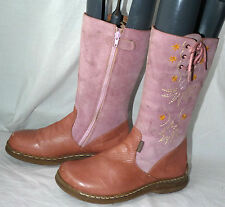 Girls Titanitos Spanish Design Pink Real Leather Knee / Mid Calf Boots UK4