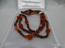 Ross & Simons Sterling Silver Bronze Chocolate Pearl & Coral Necklace w/Box