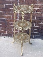Ornate Victorian Lady Face motif Metal Art round plant Stand table paw feet