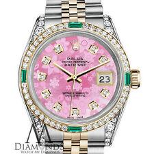 Rolex Steel and Gold 36mm Datejust Pink Flower MOP Diamond Emerald Dial