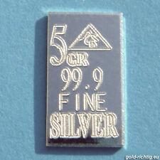 Silberbarren 5 GR = 0,324 Gramm 999 Feinsilber Silber Barren Geburtstagsgeschenk