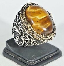 Turkish Handmade Ottoman 925K Sterling Silver Tiger Eye Men's Ring Size 8.5