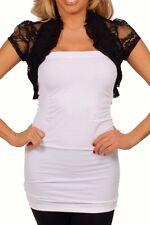 Black Lace Ruffled Bolero Jacket Short Sleeve Wedding/Bridal *3Xlarge*New