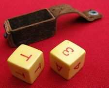 ANTIQUE PAIR OF PUT & TAKE DICE WITH ORIGINAL LEATHER POCKET CARRYING CASE