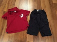 Sonoma Infant Boys Red Polo Navy Blue Pants Beach Crab 2pc Outfit 12 Mo GUC Fall