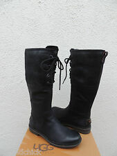 UGG ELSA BLACK BOMBER WATERPROOF LEATHER DUCK/ SNOW BOOTS, US 7/ EUR 38 ~NEW