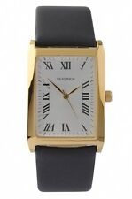 Sekonda 3225 Gold Plated Rectangular Case Black Strap Watch