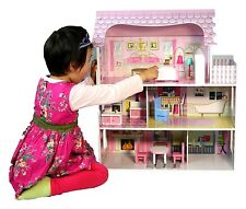 Large Children's Wooden Pink Dollhouse Fits Barbie Doll House With 8 P Furniture