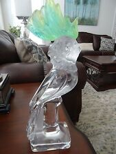 Signed DAUM Crystal France PATE DE VERRE Cockatoo BIRD STATUE Sculpture 13.5""