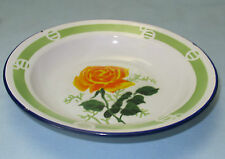 VINTAGE ENAMELWARE SOUP BOWL w YELLOW ROSE by LUCKY ELEPHANT
