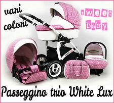 Passeggino trio White Lux 3in1!con navicella passeggino ovetto!vari colori