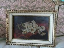 Shabby Daisy Bouquet 1800's Victorian Canvas Oil Painting Cream Gilt Frame Chic
