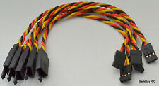 (5) 15CM Twisted 22awg Servo Extension Leads JR / Hitec w/ Built In Safety Clips
