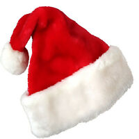 2015 Christmas Party Soft Velvet Santa Hat Red White Cap For Santa Claus Costume