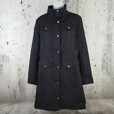 GUESS Women's XL Black Fit & Flare Trench Coat Mid Thigh Full Zip w/Snap Buttons