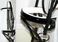 FSS PATENT Leather BLACK GLOSS Comfort WHITE Padded Poll Dressage Bridle Reins