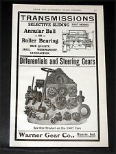 """1907 OLD MAGAZINE PRINT AD, WARNER, """"SELECTIVE SLIDING"""" TRANSMISSIONS AND GEARS!"""