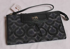 NWT COACH Madison OP ART Ikat Zippy Wallet Wristlet #48580 NAVY