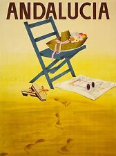 TRAVEL TOURISM ANDALUCIA SPA BEACH S HAT CHAIR VACATION HOLIDAY PRINT LV4130