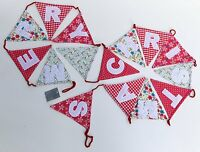 Gisela Graham Vintage Merry Christmas Fabric Bunting - Home Christmas Decoration