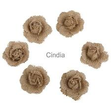 6pcs/Lot Natural Hessian Jute Burlap Flower Rustic Wedding Decoration Crafts