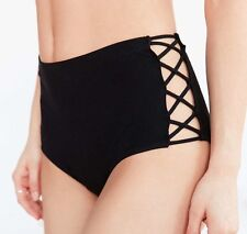 NWT Medium Out From Under Black High Waist Criss Cross Underwear Nasty Gal Sexy