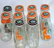 10 Pack Starbucks Frappucino Empty Clean Glass Bottles With Lids 9.5 oz