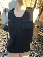NWOT Diane Von Furstenberg Gray Stretch Scoop Neck Sleeveless Knit Top sz.M