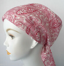 Cancer Chemo Hat Hairloss Womens Head Scarf Turban Alopecia Red Paisley