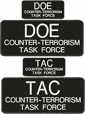 """""""DOE+ TAC counter-terrorism task force"""" embroidery patches 4 X 10 and 2x5 hook"""