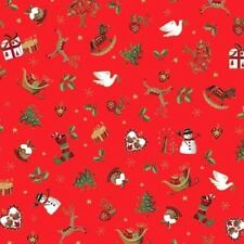 METALLIC CHRISTMAS PLUM PUDDING PRESENTS DOVES HOLLY FABRIC