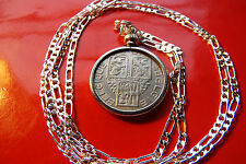 "Antique  CLASSIC BELGIAN  LION COIN Pendant on a 30"" 925 Sterling Silver Chain."
