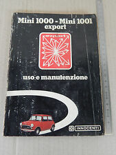 INNOCENTI MINI 1000 1001 EXPORT LIBRETTO USO E MANUTENZIONE 1973 MANUALE MANUAL